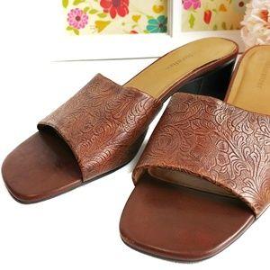Naturalizer Tooled Leather Slides Mules Size 10